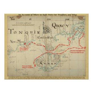 An Authentic 1690 Pirate Map (with embellishments) Posters
