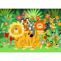Cartoon Liger and Friends Greeting Card